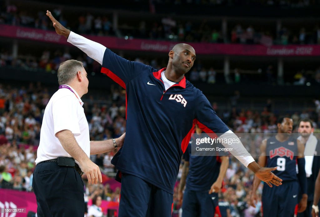 Kobe Bryant #10 of United States reacts late in the fourth quarter while taking on Argentina during the Men's Basketball semifinal match on Day 14 of the London 2012 Olympic Games at the North Greenwich Arena on August 10, 2012 in London, England.