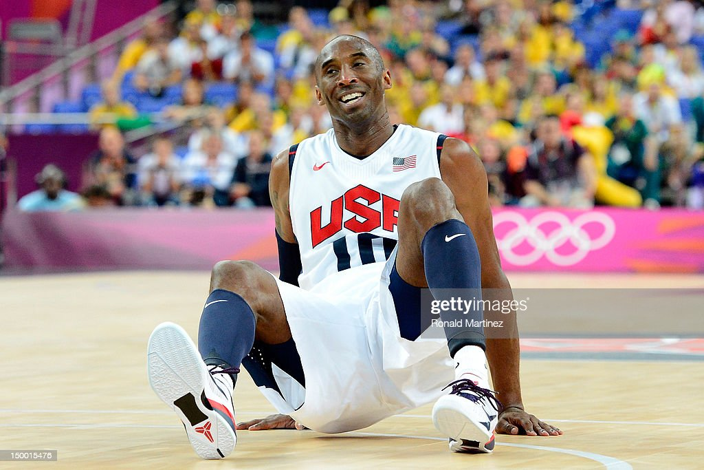 Kobe Bryant #10 of United States reacts while taking on Australia in the third quarter during the Men's Basketball quaterfinal game on Day 12 of the London 2012 Olympic Games at North Greenwich Arena on August 8, 2012 in London, England.