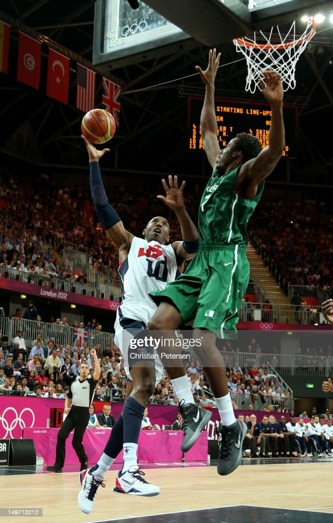 Kobe Bryant #10 of United States shoots against Al-Farouq Aminu #7 of Nigeria in the first quarter during the Men's Basketball Preliminary Round match on Day 6 of the London 2012 Olympic Games at Basketball Arena on August 2, 2012 in London, England.