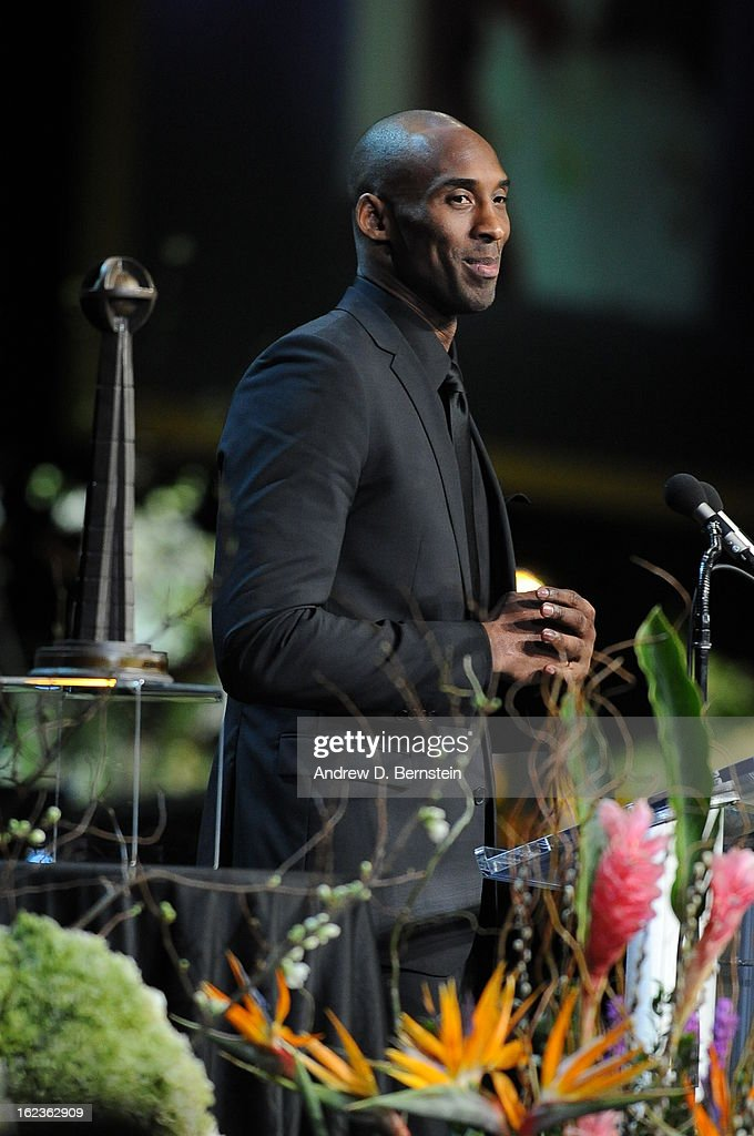 Kobe Bryant speaks during the memorial service for Los Angeles Lakers Owner Dr. Jerry Buss at Nokia Theatre LA LIVE on February 21, 2013 in Los Angeles, California.