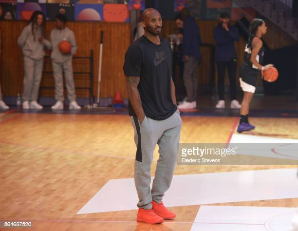 Kobe Bryant supervised a training session for INSEP residents and a selection of the best players from the Paris region on October 21 2017 in Paris...