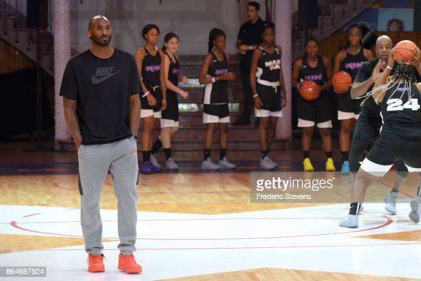 Kobe Bryant supervises a training session for INSEP residents and a selection of the best players from the Paris region on October 21 2017 in Paris...