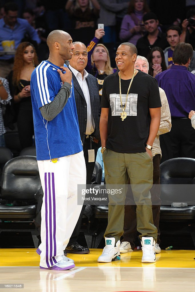 <a gi-track='captionPersonalityLinkClicked' href=/galleries/search?phrase=Kobe+Bryant&family=editorial&specificpeople=201466 ng-click='$event.stopPropagation()'>Kobe Bryant</a> (L) talks to Jay Z at a basketball game between the Oklahoma City Thunder and the Los Angeles Lakers at Staples Center on January 27, 2013 in Los Angeles, California.