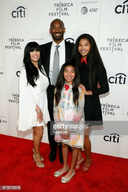 Kobe Bryant Vanessa Bryant Gianna Briant and Natalia Bryant attend Tribeca Talks during the 2017 Tribeca Film Festival at Borough of Manhattan...