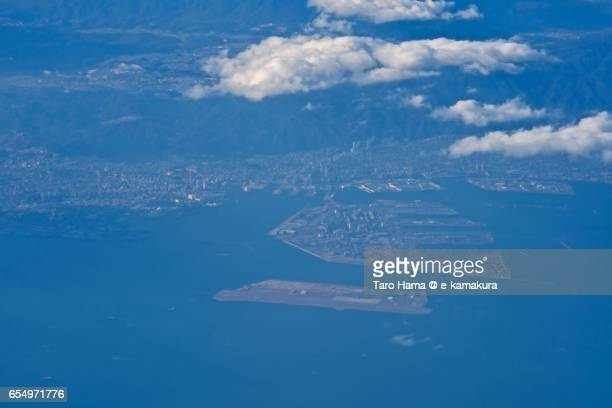 Kobe city, daytime aerial view from airplane