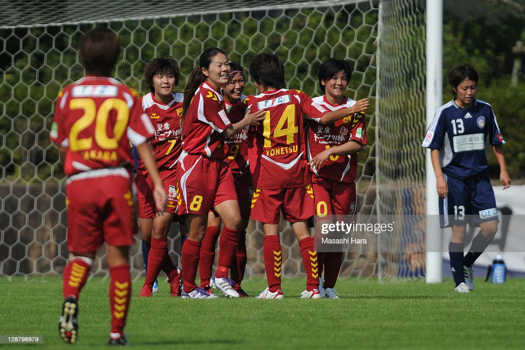 Kobe Leonessa players (2L-2R) Ji So Yun #7,Homare Sawa #8, Nahomi Kawasumi, Miwa Yonetu #14 and Shinobu Ohno #10 celebrate the first goal during the Nadeshiko League match between Okayama Yunogo Belle and INAC Kobe Leonessa at Mimasaka Rugby Soccer Stadium on October 9, 2011 in Okayama, Japan.