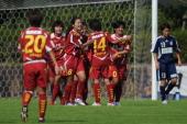INAC Kobe Leonessa players Ji So YunHomare Sawa Nahomi Kawasumi Miwa Yonetu and Shinobu Ohno celebrate the first goal during the Nadeshiko League...