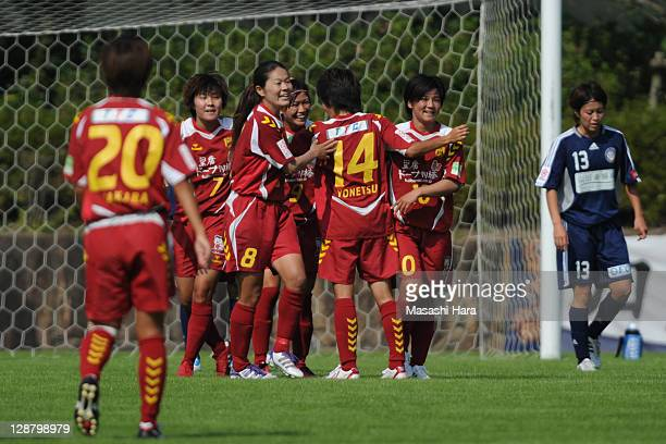 INAC Kobe Leonessa players Ji So YunHomare Sawa Nahomi Kawasumi Miwa Yonetu and Shinobu Ohno celebrate the first goal during the Nadeshiko League...