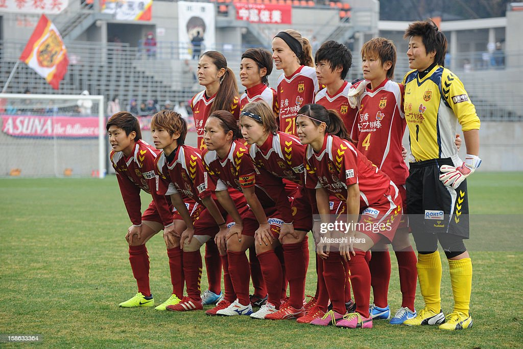 Kobe Leonessa players pose for a team photograph prior to the 34th Empress's Cup All Japan Women's Football Tournament semi final match between INAC Kobe Leonessa and Urawa Red Diamonds Ladies at Nack 5 Stadium Omiya on December 22, 2012 in Saitama, Japan.