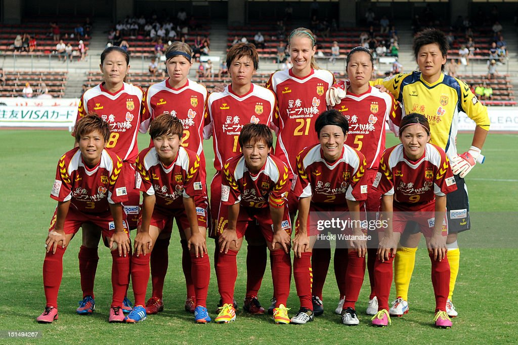 Kobe Leonessa players pose for team photos prior to the Nadeshiko League Cup Semi-Final match between INAC Kobe Leonessa and Iga FC Kunoichi at Komaba Stadium on September 2, 2012 in Saitama, Japan.