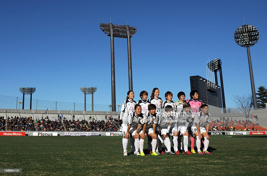 Kobe players pose for a team photograph prior to the 34th Empress's Cup All Japan Women's Football Tournament final match between INAC Kobe Leonessa and JEF United Chiba Ladies at Nack 5 Stadium Omiya on December 24, 2012 in Saitama, Japan.