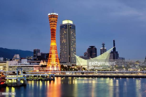 Kobe Port Tower skyline illuminated at dusk