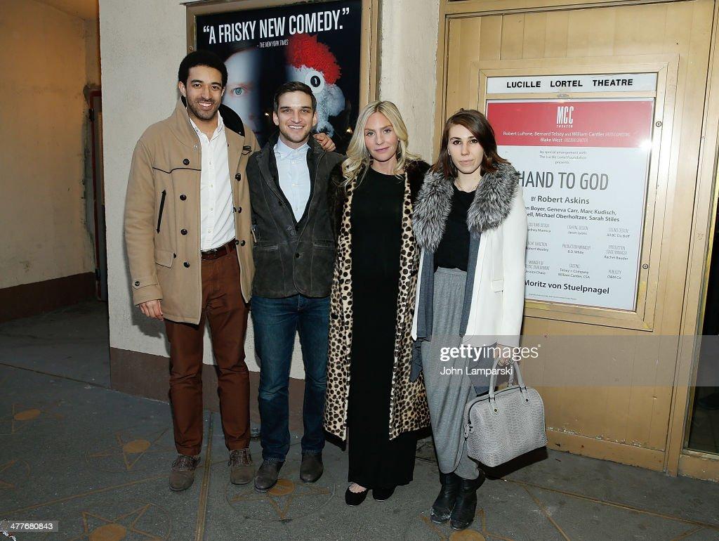 Kobi Libii Evan Jonigkeit Aleque Reid and Zosia Mamet attend the 'Hand Of God' OffBroadway Opening Night at Lucille Lortel Theatre on March 10 2014...