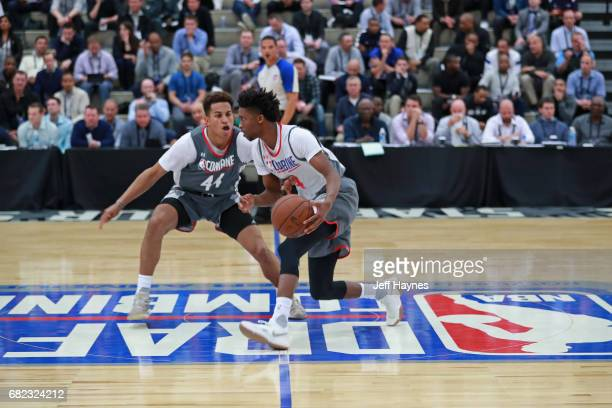 Kobi Simmons dribbles the ball up court while guarded by Frank Jackson during the NBA Draft Combine at the Quest Multisport Center on May 11 2017 in...