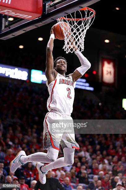 Kobi Simmons of the Arizona Wildcats dunks during the first half of the NCAA college basketball game against the Texas Southern Tigers at McKale...