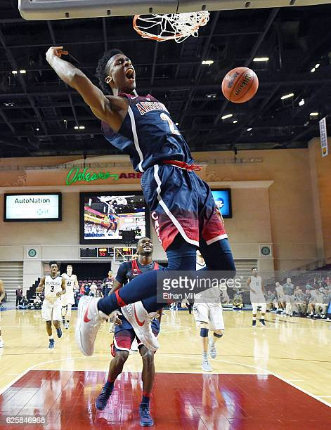 Kobi Simmons of the Arizona Wildcats reacts after dunking against the Butler Bulldogs during the championship game of the 2016 Continental Tire Las...