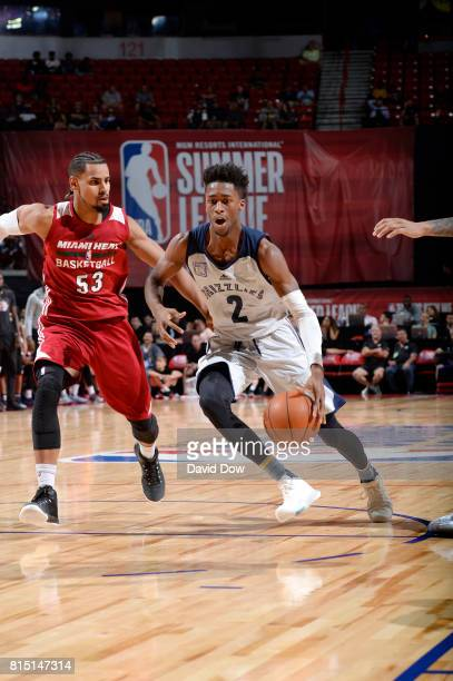 Kobi Simmons of the Memphis Grizzlies handles the ball against Gian Clavell of the Miami Heat during the Quarterfinals of the 2017 Summer League on...