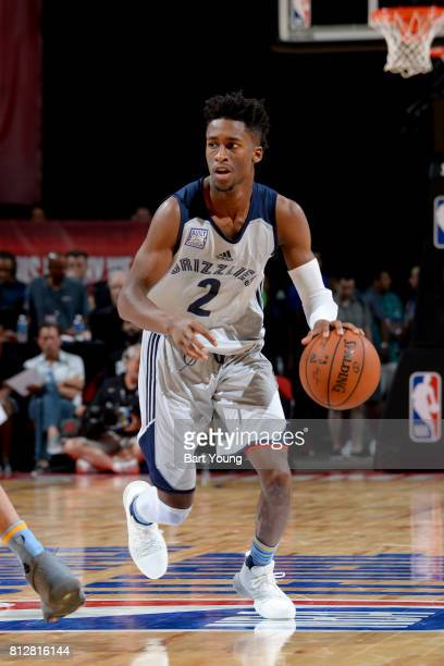 Kobi Simmons of the Memphis Grizzlies handles the ball against the Utah Jazz on July 11 2017 at the Thomas Mack Center in Las Vegas Nevada NOTE TO...
