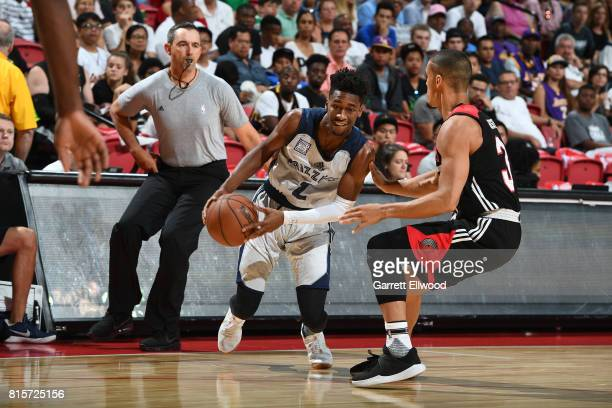 Kobi Simmons of the Memphis Grizzlies handles the ball against the Portland Trail Blazers during the 2017 Summer League Semifinals on July 16 2017 at...