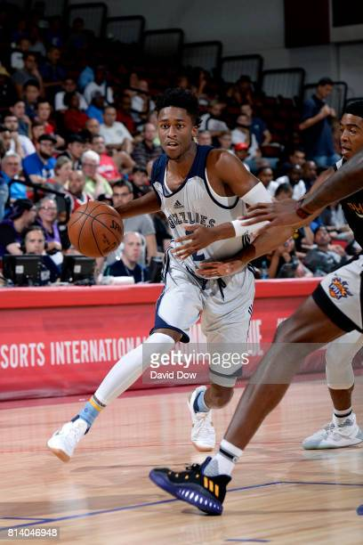 Kobi Simmons of the Memphis Grizzlies handles the ball during the game against the Phoenix Suns during the 2017 Las Vegas Summer League game on July...