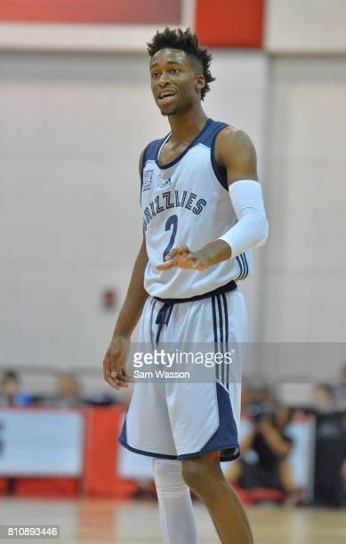 Kobi Simmons of the Memphis Grizzlies looks on in a game against the Washington Wizards during the 2017 Summer League at the Cox Pavilion on July 8...