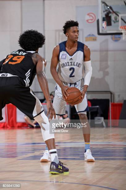 Kobi Simmons of the Memphis Grizzlies looks to pass the ball during the 2017 Las Vegas Summer League game against the Phoenix Suns on July 13 2017 at...