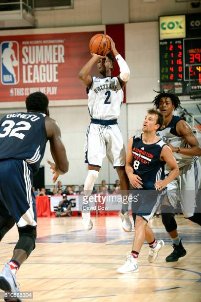 Kobi Simmons of the Memphis Grizzlies passes the ball against the Washington Wizards during the 2017 Summer League on July 8 2017 at Cox Pavillion in...