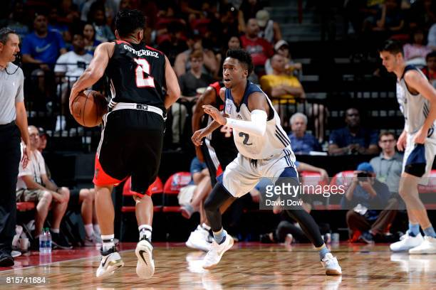 Kobi Simmons of the Memphis Grizzlies plays defense against Jorge Gutierrez of the Portland Trail Blazers during the Semifinals of the 2017 Las Vegas...