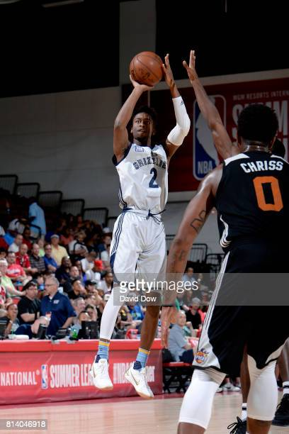 Kobi Simmons of the Memphis Grizzlies shoots the ball during the game against the Phoenix Suns during the 2017 Las Vegas Summer League game on July...
