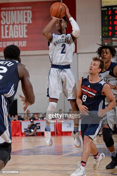 Kobi Simmons of the Memphis Grizzlies shoots the ball during the game against the Washington Wizards during the 2017 Summer League on July 8 2017 at...