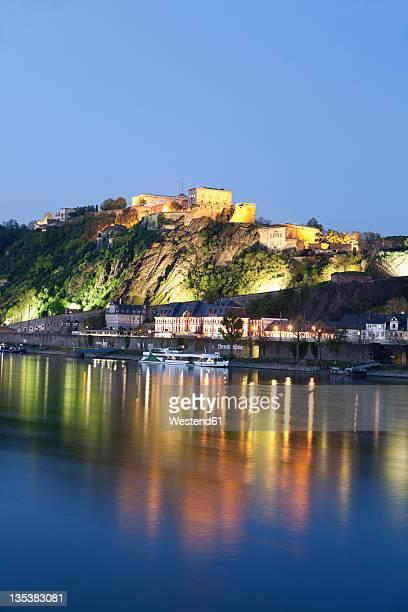 Koblenz, View of  fortress Ehrenbreitstein in evening light with river rhine