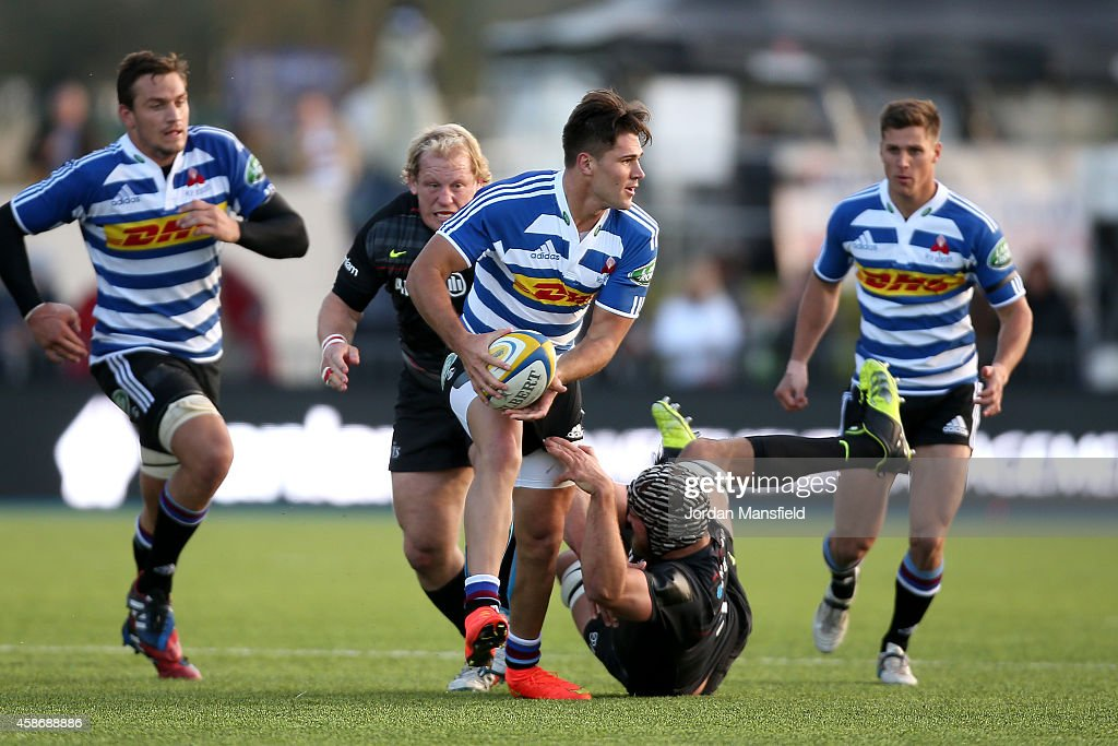 Kobus van Wyk of Western Province is tackled by Alistair Hargreaves of Saracens during the match between Saracens and DHL Western Province at Allianz...