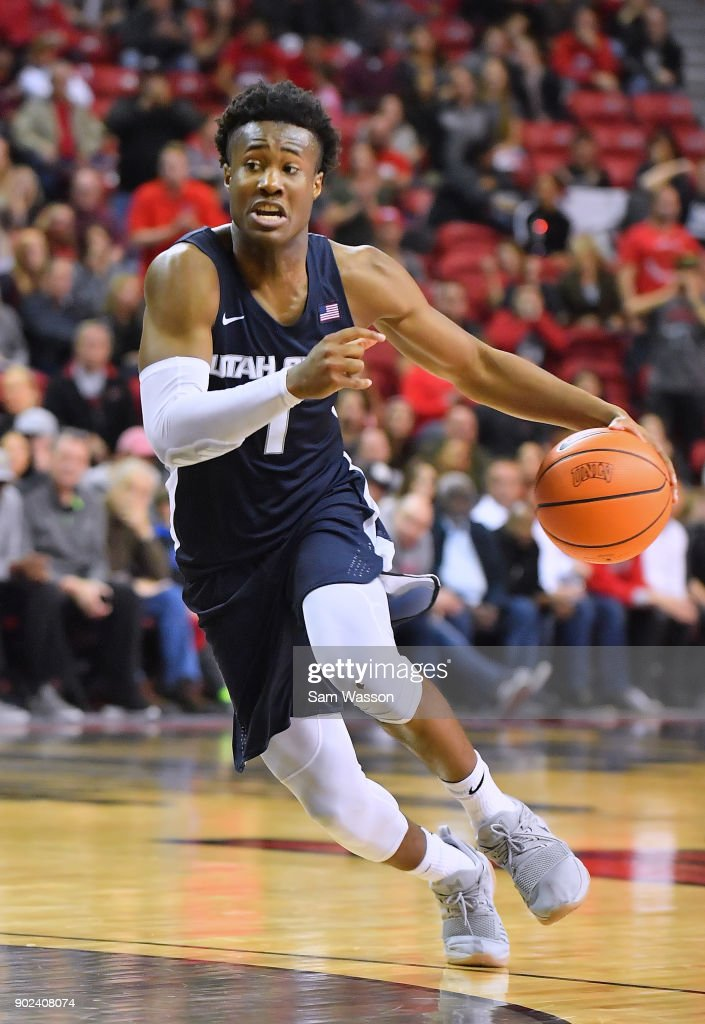 Koby McEwen #1 of the Utah State Aggies dribbles against the UNLV Rebels during their game at the Thomas & Mack Center on January 6, 2018 in Las Vegas, Nevada. Utah State won 85-78.