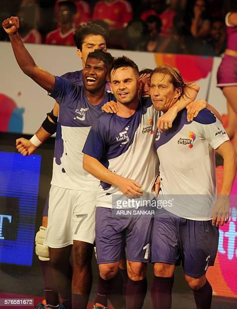Kochi's Miguel Salgado celebrates after scoring a goal against the Mumbai 5's during their Premier Futsal Football League match in Chennai on July 16...