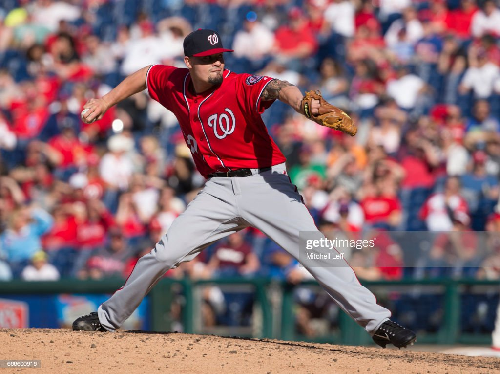 Koda Glover #30 of the Washington Nationals throws a pitch in the bottom of the ninth inning against the Philadelphia Phillies at Citizens Bank Park on April 9, 2017 in Philadelphia, Pennsylvania. The Phillies defeated the Nationals 4-3.