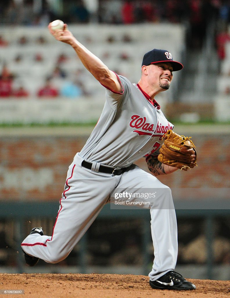 Koda Glover #30 of the Washington Nationals throws an eighth inning pitch against the Atlanta Braves at SunTrust Park on April 20, 2017 in Atlanta, Georgia.