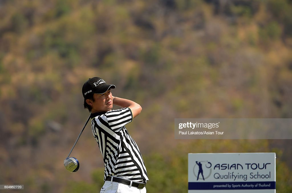 <a gi-track='captionPersonalityLinkClicked' href=/galleries/search?phrase=Kodai+Ichihara&family=editorial&specificpeople=6474254 ng-click='$event.stopPropagation()'>Kodai Ichihara</a> of Japan in action during the Asian Tour Qualifying School Final Stage at Imperial Lakeview Golf Club on January 14, 2016 in Hua Hin, Thailand.