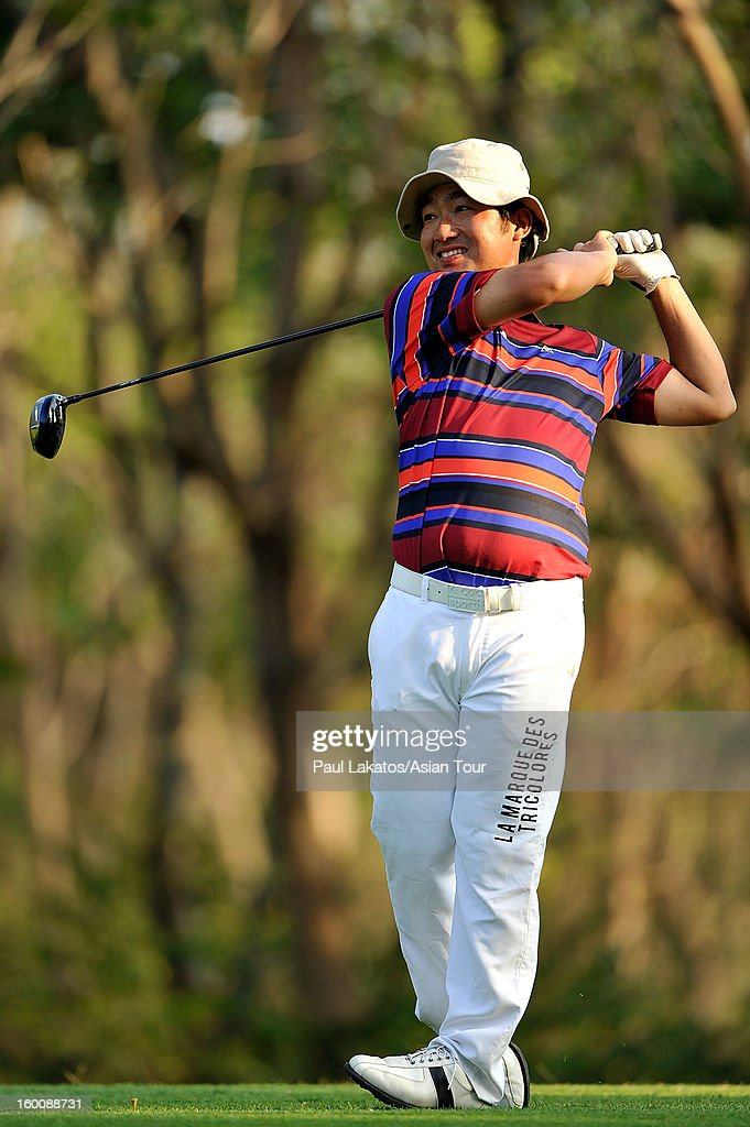 <a gi-track='captionPersonalityLinkClicked' href=/galleries/search?phrase=Kodai+Ichihara&family=editorial&specificpeople=6474254 ng-click='$event.stopPropagation()'>Kodai Ichihara</a> of Japan plays a shot during round four of the Asian Tour Qualifying School Final Stage at Springfield Royal Country Club on January 26, 2013 in Hua Hin, Thailand.