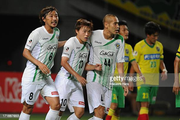 Kodai Yasuda of Tokyo Verdy celebrates the first goal during the JLeague second division match between JEF United Chiba and Tokyo Verdy at Fukuda...