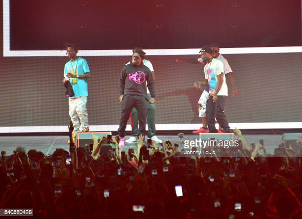 Kodak Black performs on stage during Bryson Tiller 'Set It Off Tour' at Watsco Center on August 29 2017 in Coral Gables Florida