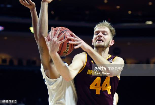 Kodi Justice of the Arizona State Sun Devils grabs the ball against the Xavier Musketeers during the championship game of the 2017 Continental Tire...