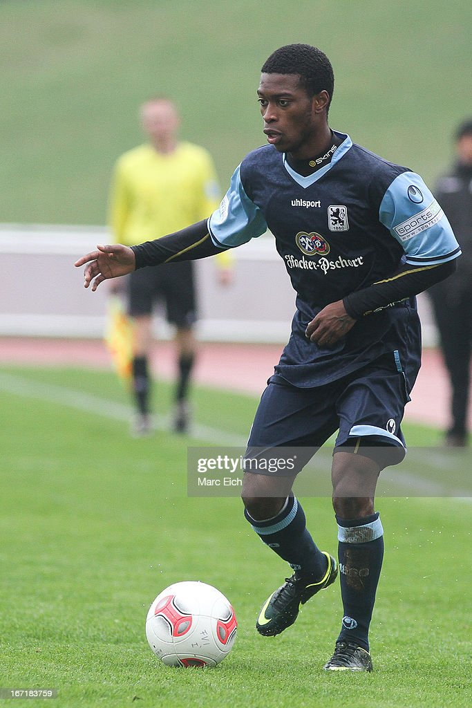 Kodjovi Koussou of Muenchen in action during the Regionalliga Bayern match between FV Illertissen and 1860 Muenchen II at Voehlinstadion on April 20, 2013 in Illertissen, Germany.