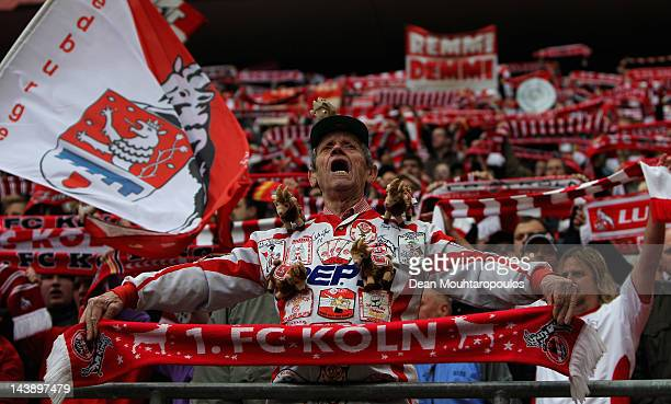 Koeln fan sings during the Bundesliga match between 1 FC Koeln and FC Bayern Muenchen at RheinEnergieStadion on May 5 2012 in Cologne Germany