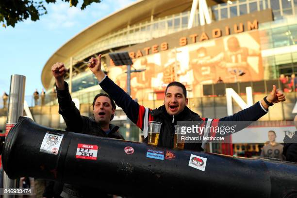 Koeln fans ahead of the UEFA Europa League group H match between Arsenal FC and 1 FC Koeln at Emirates Stadium on September 14 2017 in London United...