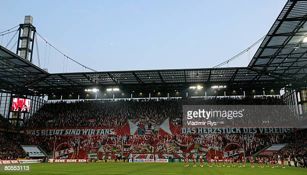Koeln fans are seen during the Second Bundesliga match between 1 FC Koeln and Borussia Moenchengladbach at the RheinEnergie stadium on April 7 2008...