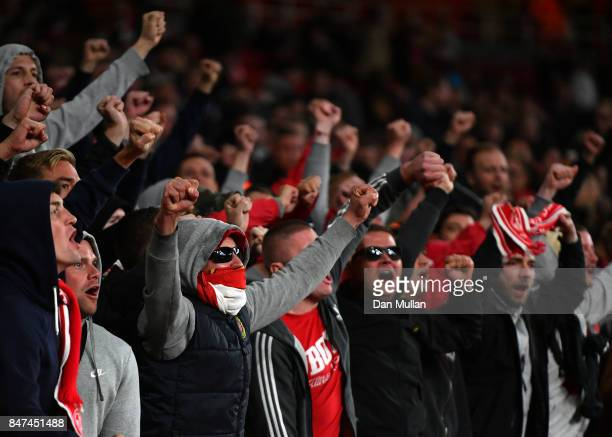Koeln fans show their support prior to the UEFA Europa League group H match between Arsenal FC and 1 FC Koeln at Emirates Stadium on September 14...