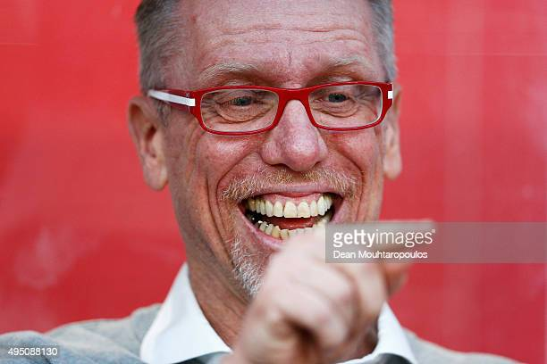 Koeln Head Coach / Manager Peter Stoeger laughs prior to the Bundesliga match between 1 FC Koeln and TSG 1899 Hoffenheim held at RheinEnergieStadion...