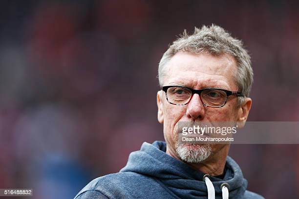 Koeln Head Coach / Manager Peter Stoeger looks on prior to the Bundesliga match between 1 FC Koeln and FC Bayern Muenchen held at RheinEnergieStadion...