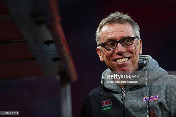 Koeln Head Coach / Manager Peter Stoeger looks on prior to the Bundesliga match between 1 FC Koeln and Hamburger SV at RheinEnergieStadion on October...