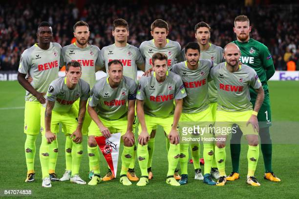 Koeln line up for the UEFA Europa League group H match between Arsenal FC and 1 FC Koeln at Emirates Stadium on September 14 2017 in London United...